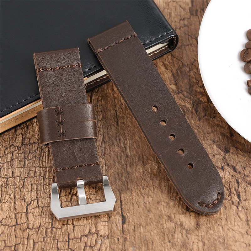 Durable 24/26mm Fashion Real Genuine Leather Watch Band Strap with Pin Buckle for Men Women Replacement Belt + 2 Spring Bars genuine leather watchband for longines men leather watch strap for women metal buckle watch band belt retro watch clock band