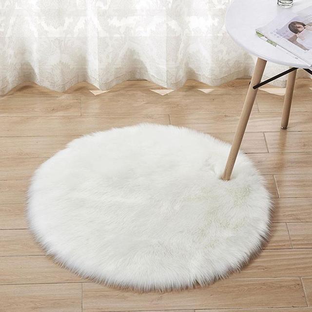 90 90cm Simple Imitated Wool Round Room Carpet Nursery Rug Area