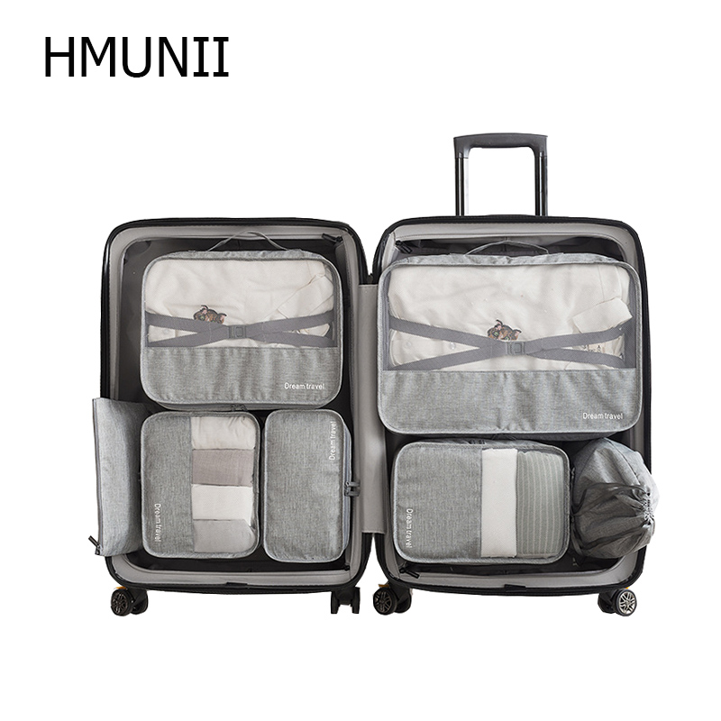 HMUNII 7Pcs Waterproof Travel Storage Bags High Capacity Mesh Clothes Packing Cube Luggage Organizer Pouch Travel Accessories clothes vacuum packing clothes storage bags