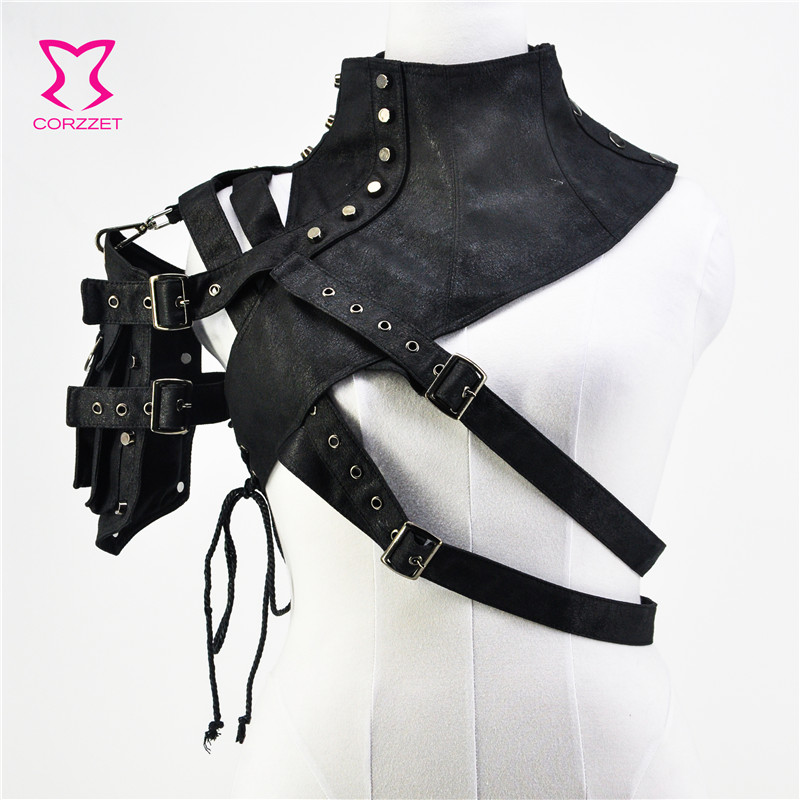 Black Leather Rivet Button Pocket Armor One Shoulder Top Women Steampunk Clothes Vintage Gothic Clothing Sexy   Corset   Accessories