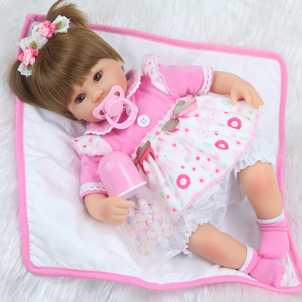 Forrsdor 16 quot bebe realista menina doll reborn lifelike babies girl silicone dolls toys for children xmas gift bonecas for child in Dolls from Toys amp Hobbies