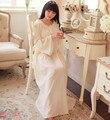 2016 otoño noble princesa camisón de algodón suave de la manga flare largo camisón de las mujeres ropa de noche floja tobillo-longitud ropa de dormir
