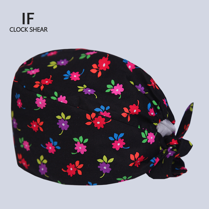 IF new beauty salon work cap Operating room hat doctor nurse dental cotton printing Pet doctor hat printing flower for women