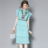 צבע אחיד מזדמן vestidos רגוס דה verano עוגת צווארון מותניים תפרים תחרה שמלת רקמת פאייטים SZWL1706703 harajuku