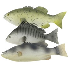 Gresorth 3 PCS Artificial Mixed Fish Set Fake Food Realistic Home Party Kitchen Toys Decoration