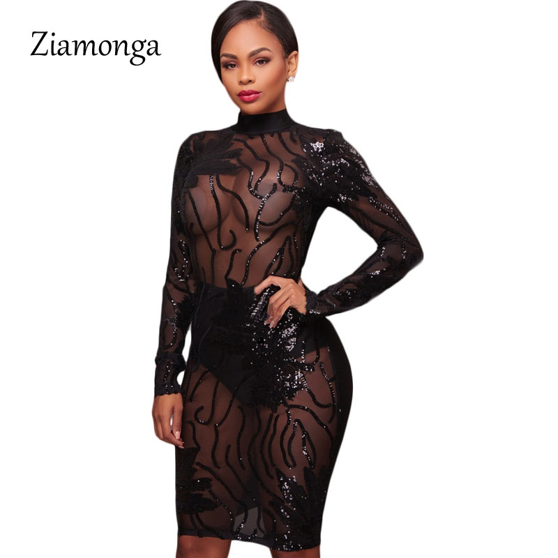 Ziamonga Autumn Winter Black Gold Long Sleeve Sequined Dress 2017 Sexy  Bodycon Sheath High Neck Party Dresses Nightclub Vestidos-in Dresses from  Women s ... 249900e32d76