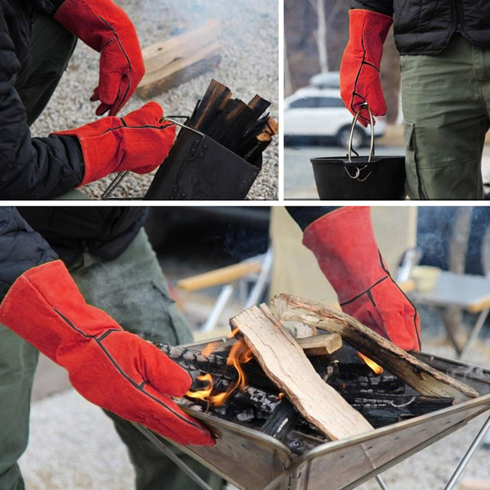 HobbyLane Outdoor BBQ Gloves Campfire Barbecue Leather High Temperature Insulation Thickening Long Protective Gloves Grilling in Hiking Gloves from Sports Entertainment