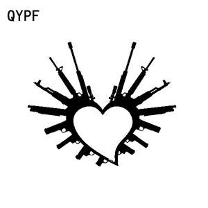 Qypf 16 cm * 13.3 cm moda coração arma amor armas de vinil decoração do carro adesivo decalque carro-estilo C15-0669
