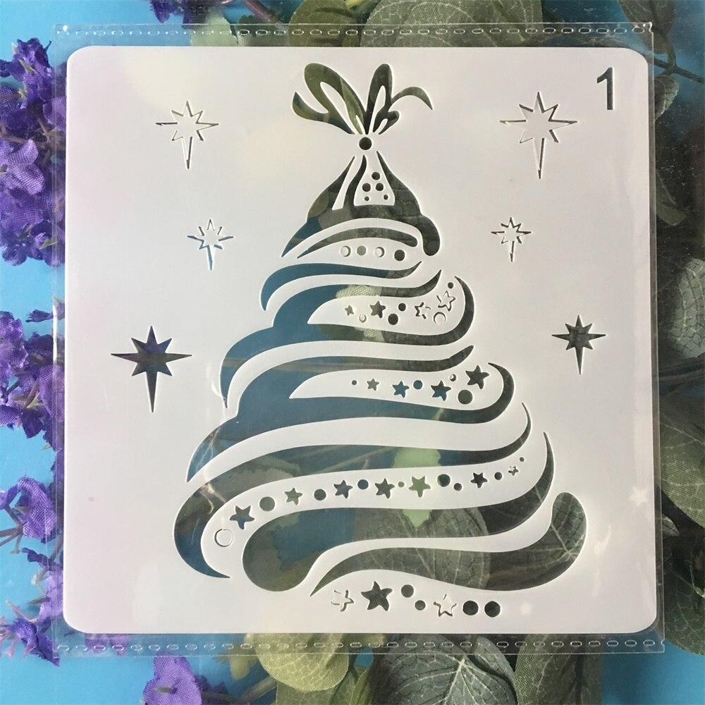 13cm Christmas Pine Tree DIY Layering Stencils Wall Painting Scrapbook Coloring Embossing Album Decorative Paper Template