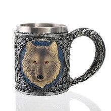 2018 Hot Retro 450ml stainless steel handle tea coffee cup resin beer mug 3D carving wolf totem red wine golbet cups