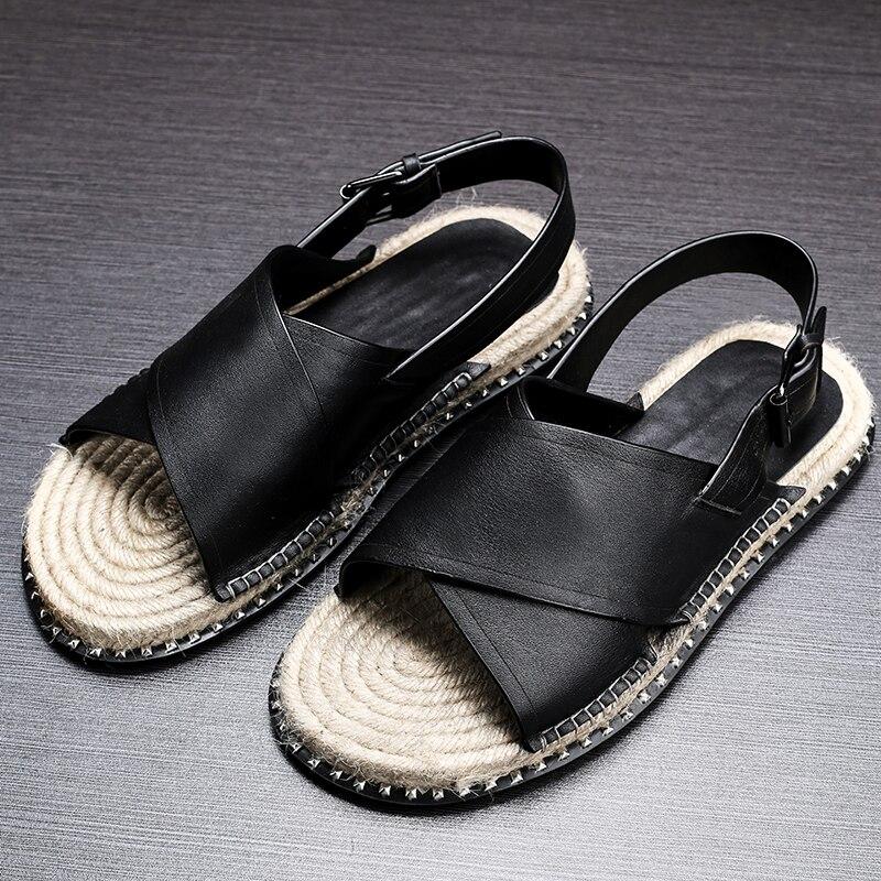 Plana Romanos Sandálias Anti Preto De escorregadio Individualidade Solas Couro Palha Sapatos Homens Chinelos Dos Lazer Verão Respirabilidade xqrCUOwYgq