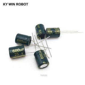 Image 4 - 10 قطع الألومنيوم مُكثَّف كهربائيًا 680 فائق التوهج 25 فولت 10*13mm frekuensi tinggi شعاعي كهربائيا kapasitor
