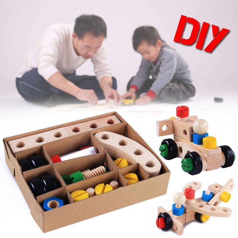 Wooden Assembly Screw Blocks Vehicle Nut Car Baby Educational Toy Children 30Pcs fonksiyonlu rende