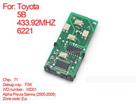 Auto 2008 2010 smart card board 5 buttons 433.92MHZ NO.WD01 71 6221 For Eur toyota Alpha Previa Sienna