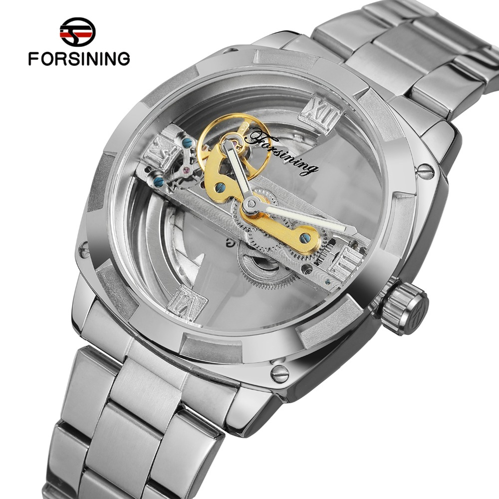 New Retro Classic Royal Design Silver Skeleton Stainless Steel Transparent Mens Automatic Mechanical Watches Top Brand