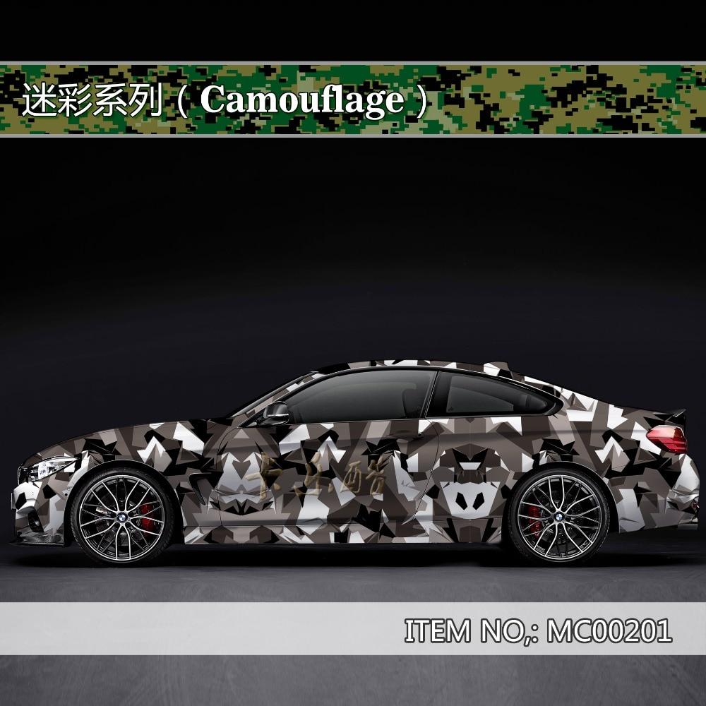 Camouflage custom car sticker bomb Camo Vinyl Wrap Car With Air Release snowflake Body StickerMC002
