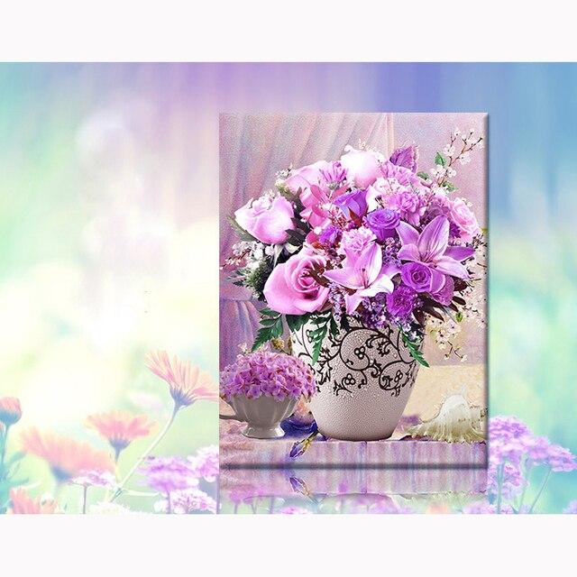 purple flowrs vase 5d Picture Of Diamond Mosaic Cross Stitch cube Diamond Sets Unfinish Decorative Diamond Embroidery floral