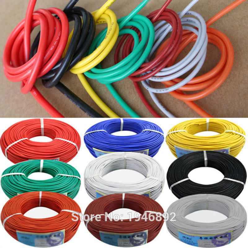 17 AWG Flexible Silicone Wire RC Cable 17AWG 210/0.08TS Outer Diameter 3.0mm With 6 Colors to Select 10awg flexible silicone wire rc cable 10awg 1050 0 08ts outer diameter 5 5mm 5 3mm square model airplane wire