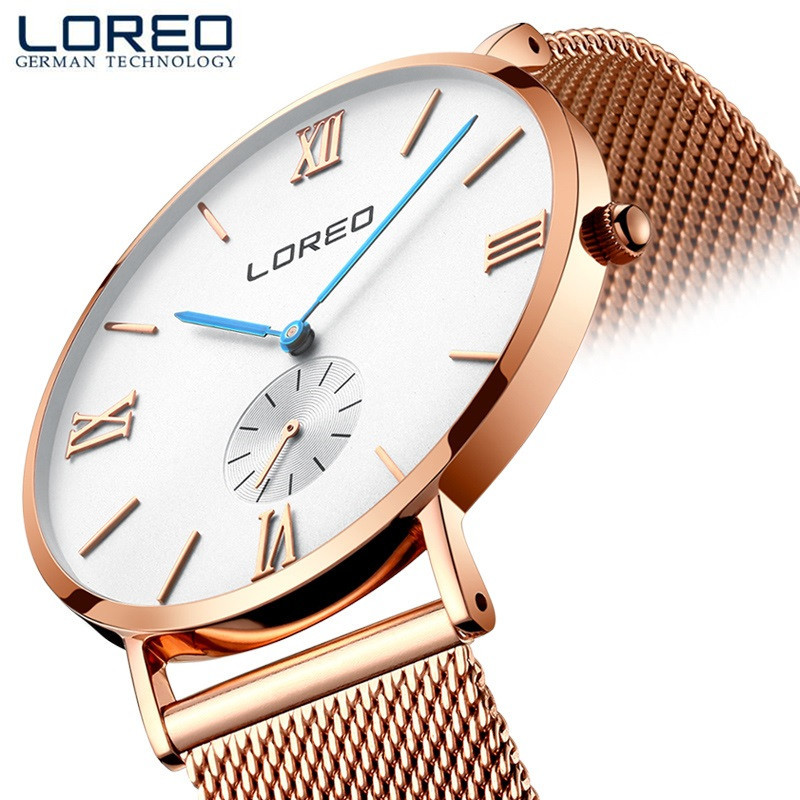 LOREO Fashion Classic Brand Watches Men Quartz Sport Watch Watchcase Ultra Thin Stainless Steel Mesh Belt Relogio Masculino M26 np shock resistant waterproof watch men 2016 new nylon sport watches ultra slim watchcase men s fashion clock large white dial
