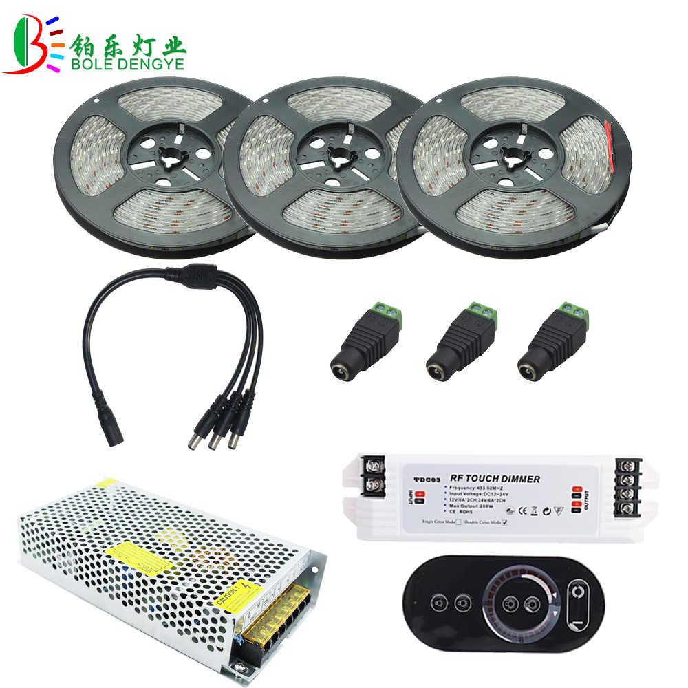15M 5730 taśma LED biały wodoodporny ciepły biały 10M 5M taśma LED jaśniejszy 5630 + RF zdalna regulacja ściemniania DC12V + adapter LED zasilacz
