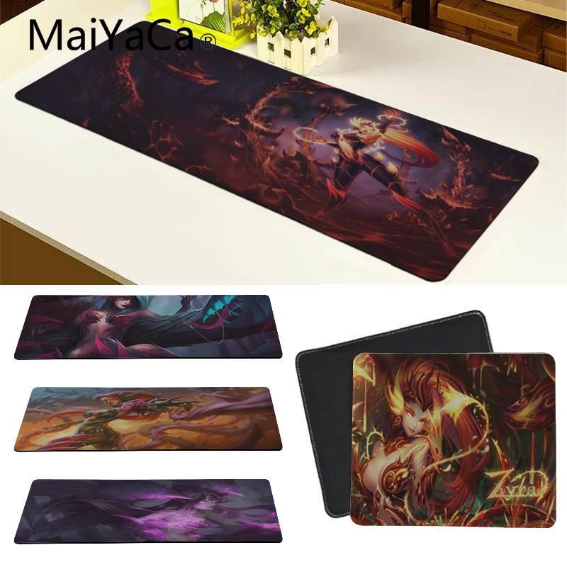 MaiYaCa Cool New LOL Zyra League of Legends Durable Rubber Mouse Mat Pad Locking Edge Mousepad Mat Keyboard Mat Table Pad