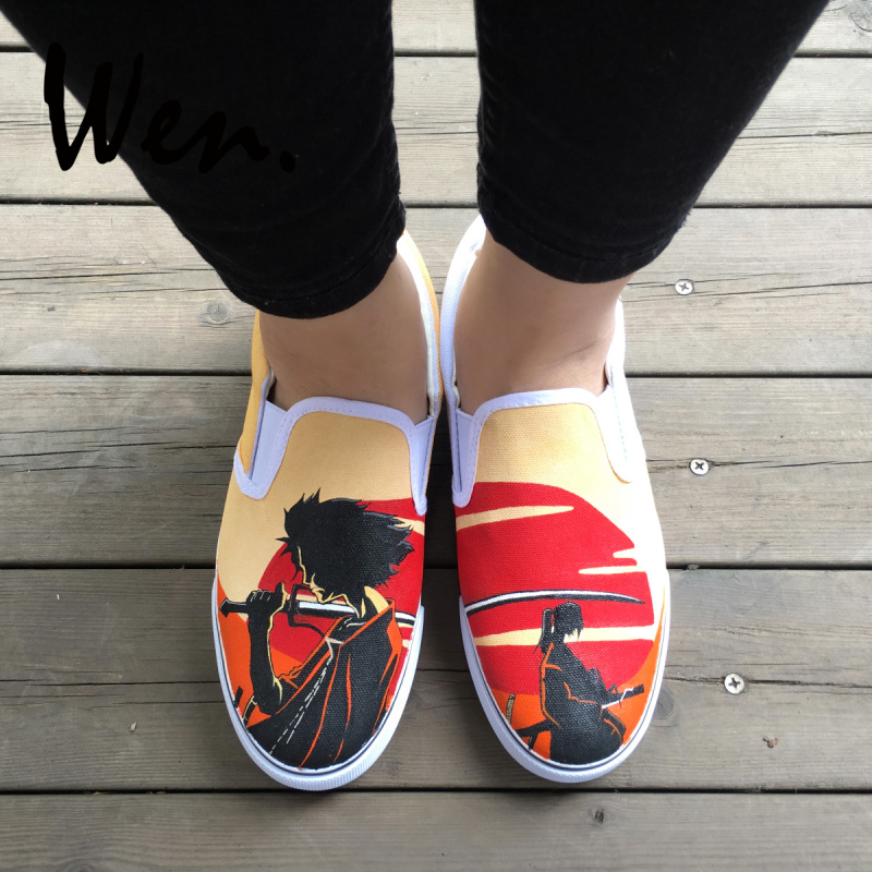 Wen Design Hand Painted Shoes Custom Anime Samurai Champloo Slip On Canvas Sneakers Men Women Low Platform Flat PlimsollsWen Design Hand Painted Shoes Custom Anime Samurai Champloo Slip On Canvas Sneakers Men Women Low Platform Flat Plimsolls