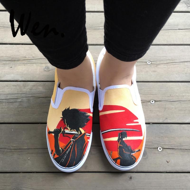 Wen Design Hand Painted Shoes Custom Anime Samurai Champloo Slip On Canvas Sneakers Men Women Low Platform Flat Plimsolls