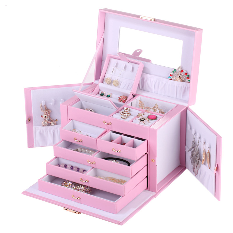 Pink Extra Large Jewellery Box Gift Necklace Rings Earrings Container Fashion Storage Case Mirror Leather Velvet Organizer Lock