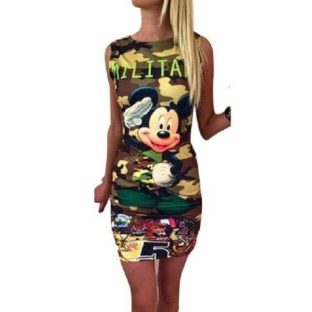 2018 Mickey 3D Print Summer Dress Female Fashion Sexy Mini Bodycon Party Dress Women Vestido Outwear Robe Femme Dresses D93