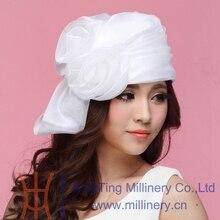 Free Shipping Summer Hats for Women Ladies' Organza Hats Wedding Headwear Hats Girl White Flower