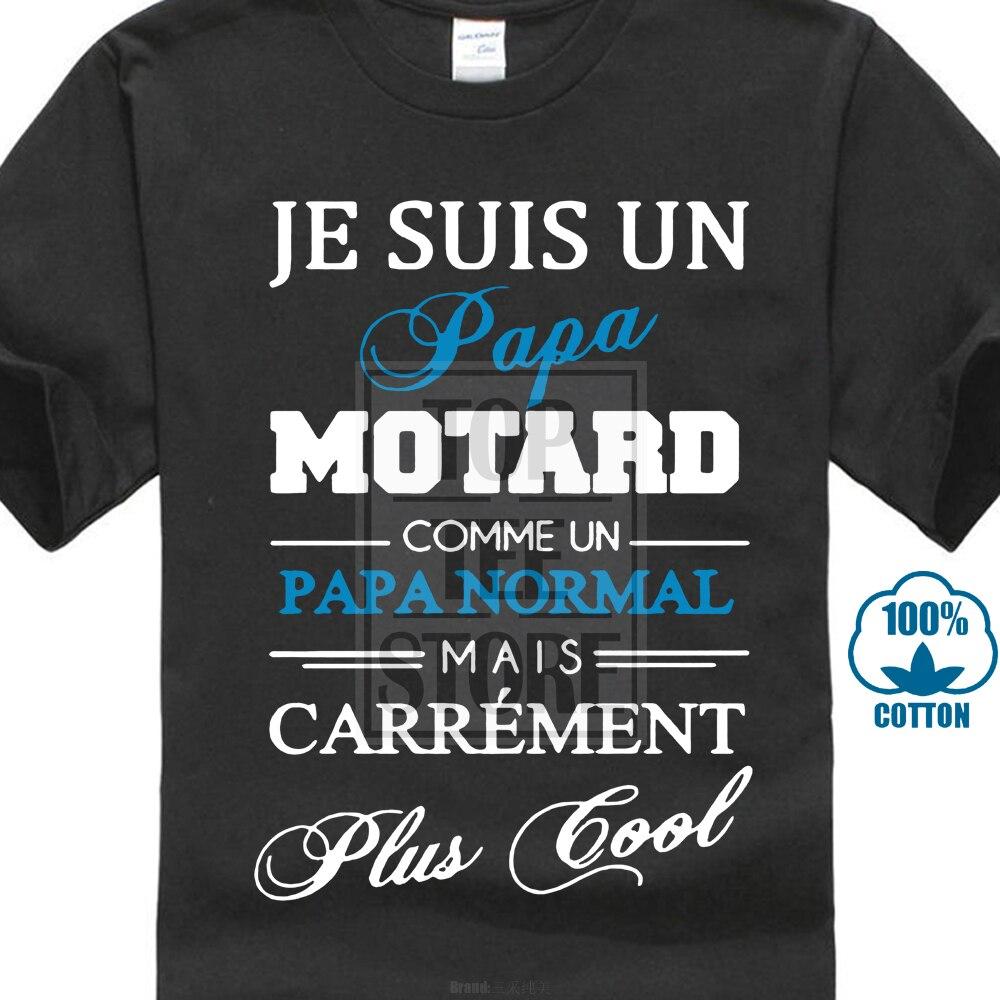 Men   T     Shirt   Teezily Je Suis Un Papa Motard Round Neck S Black Funny   T     Shirt   Novelty Tshirt Women