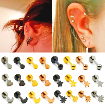 BOG-1PC 316L Surgical Steel Heart Ball Moon Labrets Stud Ring Ear Tragus Cartilage Ball Lip Ring Earrings Body Piercing Jewelry