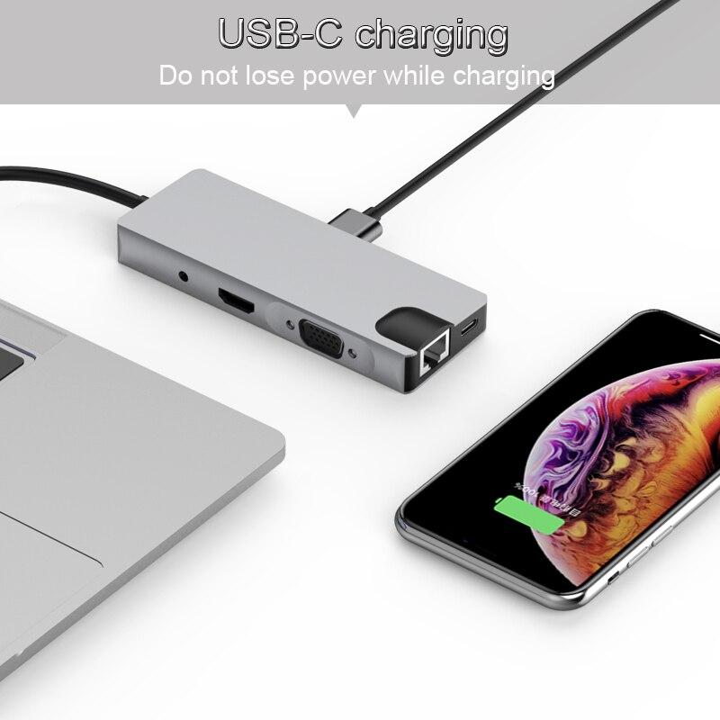 Alibaba グループ 上の Basix USB C ハブ USB3.0 HDMI VGA RJ45 ギガビットイーサネット SD/TF PD 充電アダプタ USB C ドッキングステーションタイプ C ハブコンバータ 2