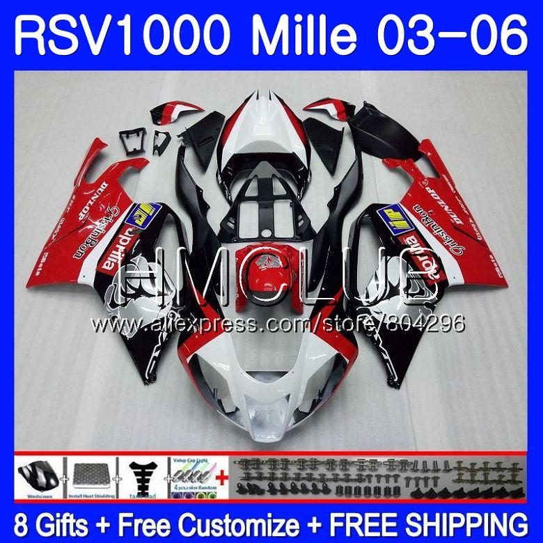 ¡Cuerpo Aprilia RSV1000 R RR 03 04 05 06 RSV1000R Mille 123HM! ¡9 RSV1000R RSV1000RR 2003, 2004, 2005, 2006 revestimiento de plata de color rojo!
