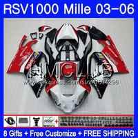 Bodys For Aprilia RSV1000 R RR 03 04 05 06 RSV1000R Mille 123HM.9 RSV1000R RSV1000RR 2003 2004 2005 2006 Fairings Red silver !!