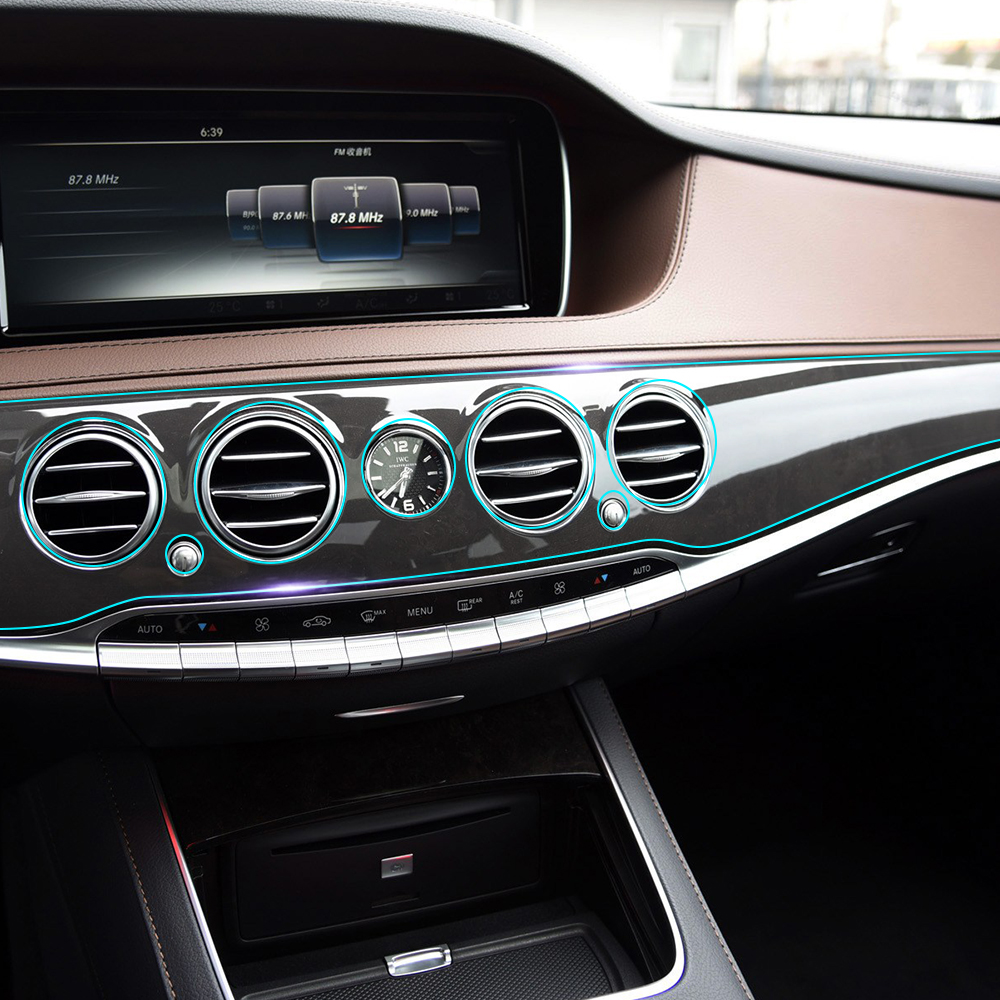 Car Interior Invisible Protective Film Center Control Console Gear Panel Sticker for <font><b>Mercedes</b></font> Benz <font><b>S</b></font> <font><b>class</b></font> <font><b>w222</b></font> Maybach s400 image