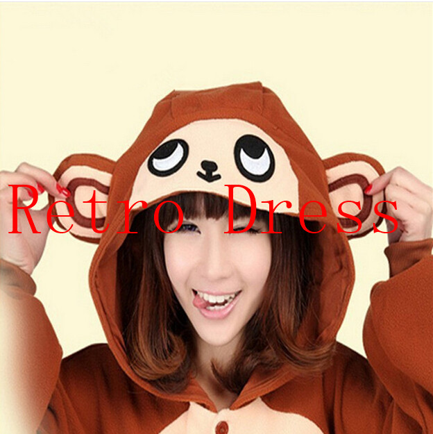 2015 Finnal Adult Cute Anime Onesie Hooded Baboon Monkey Pyjamas Cosplay Pajamas Halloween Animal Costume Animal Sleepwear