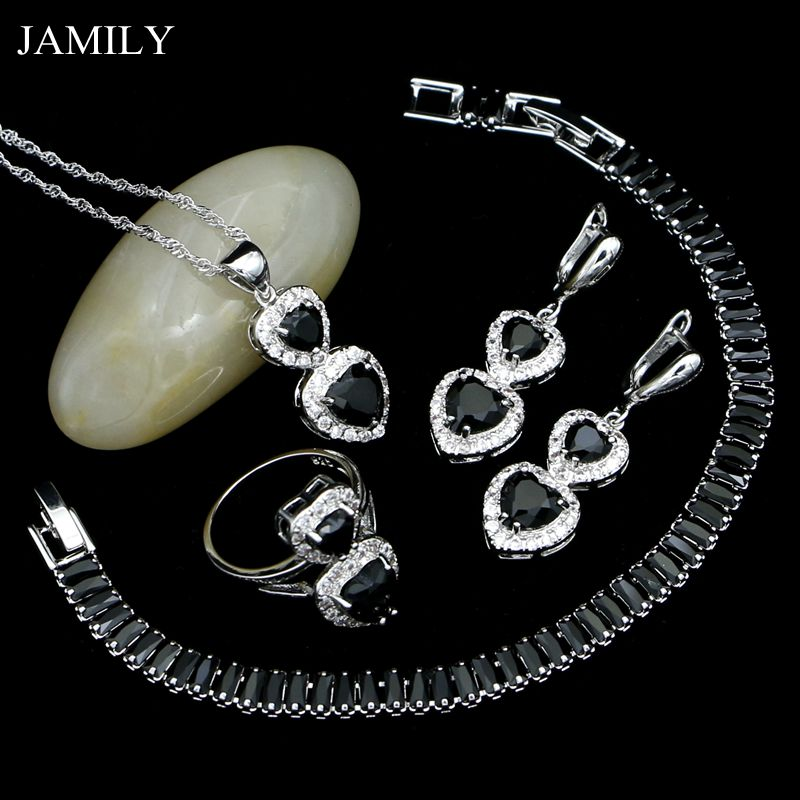 JAMILY 925 Silver Punk Jewelry Sets Black Cubic Zirconia Drop Earrings/Pendant/Ring/Necklace/Bracelet For Women Party Decoration