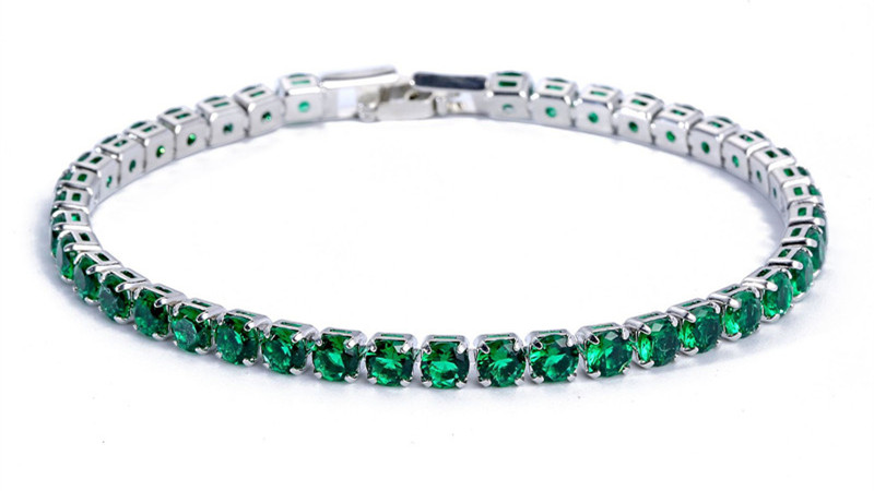 Luxury 4mm Cubic Zirconia Tennis Bracelets Iced Out Chain Crystal Wedding Bracelet For Women Men Gold Silver Bracelet Jewelry 13