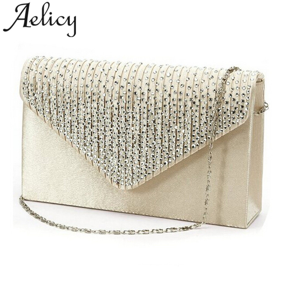 Aelicy Ladies Large Evening Satin Bridal Diamante Ladies Clutch Bag Party  Prom Envelope Shoulder Crossbody Bags bolsa feminina-in Shoulder Bags from  Luggage ... 2d989ae6bbae