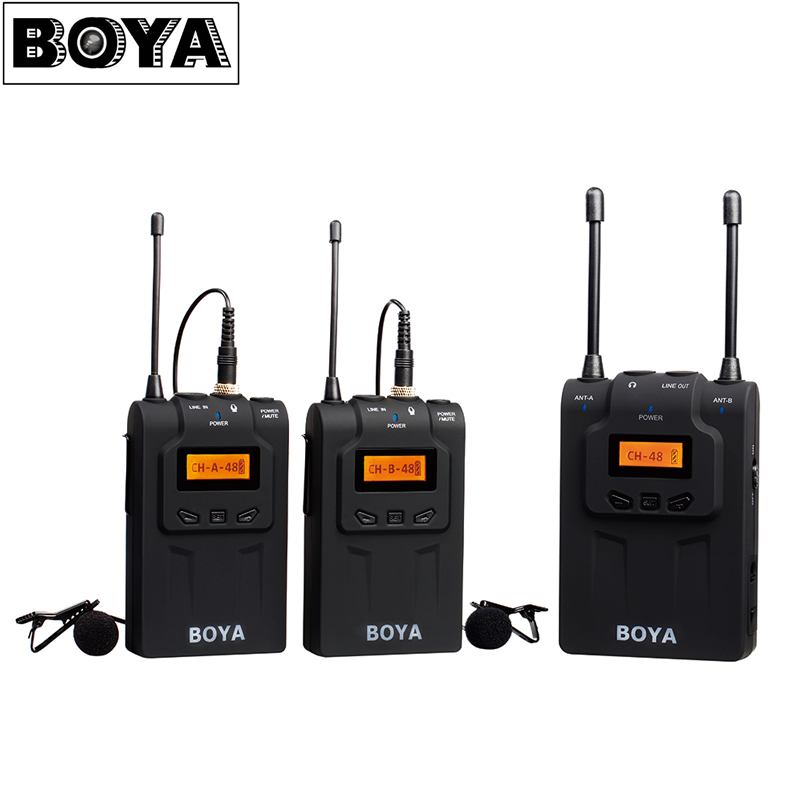 BOYA BY-WM8 UHF Dual-Channel Wireless Lavalier Microphone System with 48 Channels 6 Hours Continuous Running Time for Interviews boya by whm8 professional 48 uhf microphone dual channels wireless handheld mic system lcd display for karaoke party liveshow