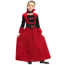 Kids Child Red Devil Vampiress Girls Vampire Costume Halloween Purim Carnival Party Mardi Gras Fancy Dress