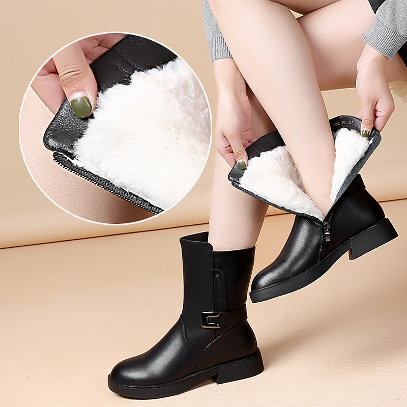2019 Black Winter Shoes Women Genuine Leather Boots Women Snow Boots Female Wool Warm Motorcycle Boots Ladies Shoes Botas Mujer