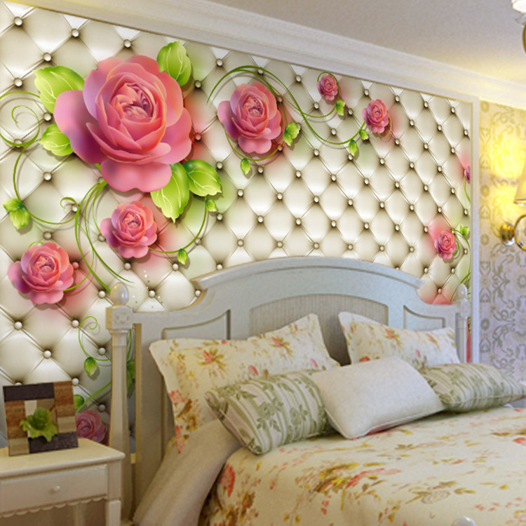 Flowers Wall Wallpapers Design For Your Bedrooms Decorating: Romantic Rose Photo Wallpaper 3D Flowers Wall Mural Custom