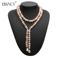 Fashion long Multicolor pearl necklace 100% genuine freshwater pearl necklace fashion jewelry for brithday gift