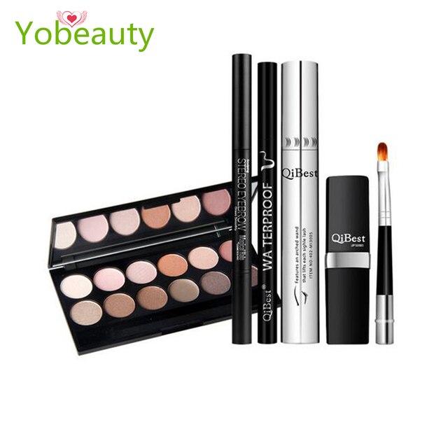 6 pcs Makeup Set maquillaje paleta Mascara + eyebrow pencil + eye shadow plate + eyeliner + lipstick + lip brush Cosmetic Kit