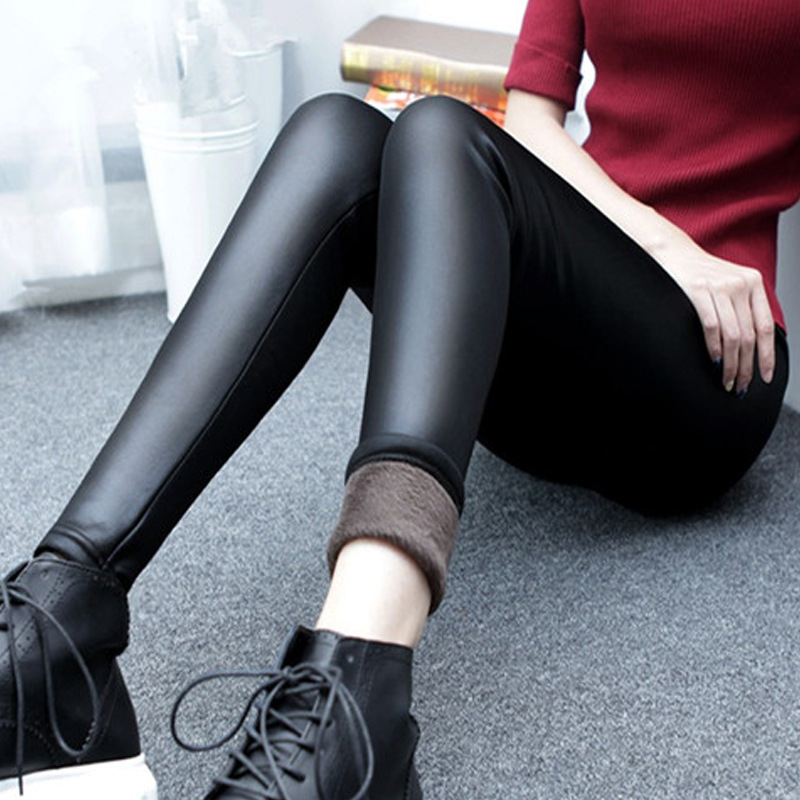 4d82bab3fd8 Fashion Women Leggings 2016 Winter Velvet Warm Leggings High Waist Stretch  Skinny Pencil Pants Brand Faux Leather Leggings