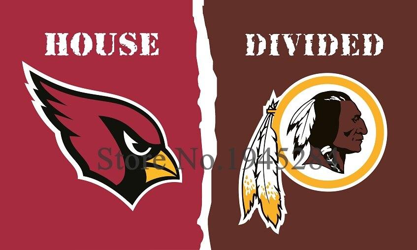 NFL Arizona Cardinals Washington Redskins House Divided Flag 3x5ft 150x90cm Polyester Flag Banner, free shipping