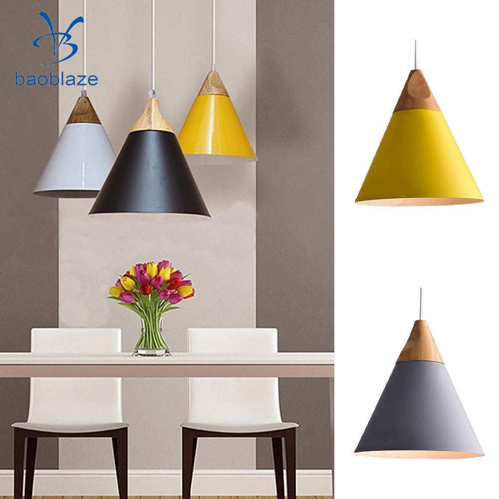 2Pcs DIY Modern Pendant Ceiling Dinning Cafe Lamp Chandelier Light Fixture Shade Aluminum Yellow & Gray