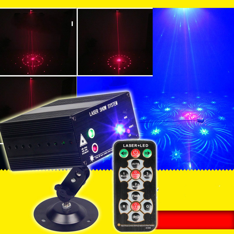 New remote RGB color 48 pattern 3 holes laser light stage lights 12V stroboscopic laser light KTV disco
